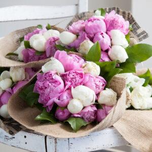 Peonies in a burlap bouquet